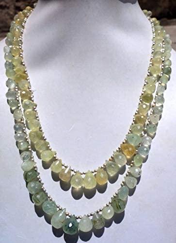GEMS-WORLD Beads Gemstone Natuaral Prehnite Drops Fashion Jewelry Necklace/Funky Jewelry 6x8x10x12 MM 15