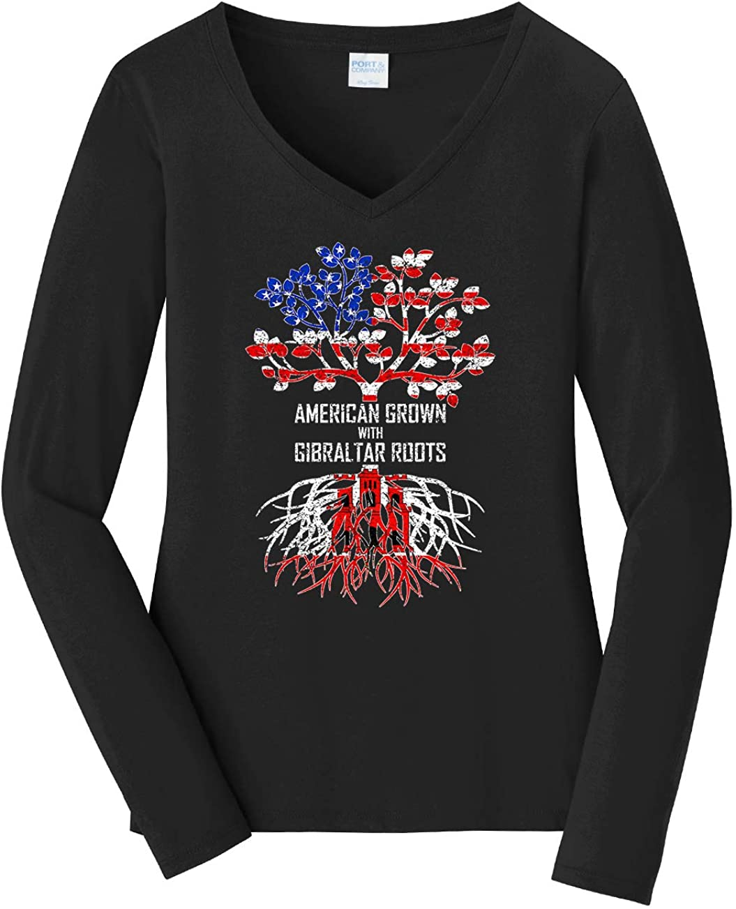 Tenacitee Women's American Grown with Gibraltar Roots Long Sleeve T-Shirt