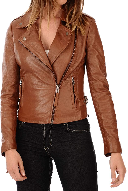 SKINOUTFIT Women's Leather Jacket Stylish Motorcycle Biker Genuine Lambskin 207