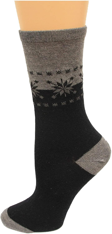 HotSox Womens Fair Isle Border Socks, Charcoal Heather, 1 Pair, Womens Shoe 4-10