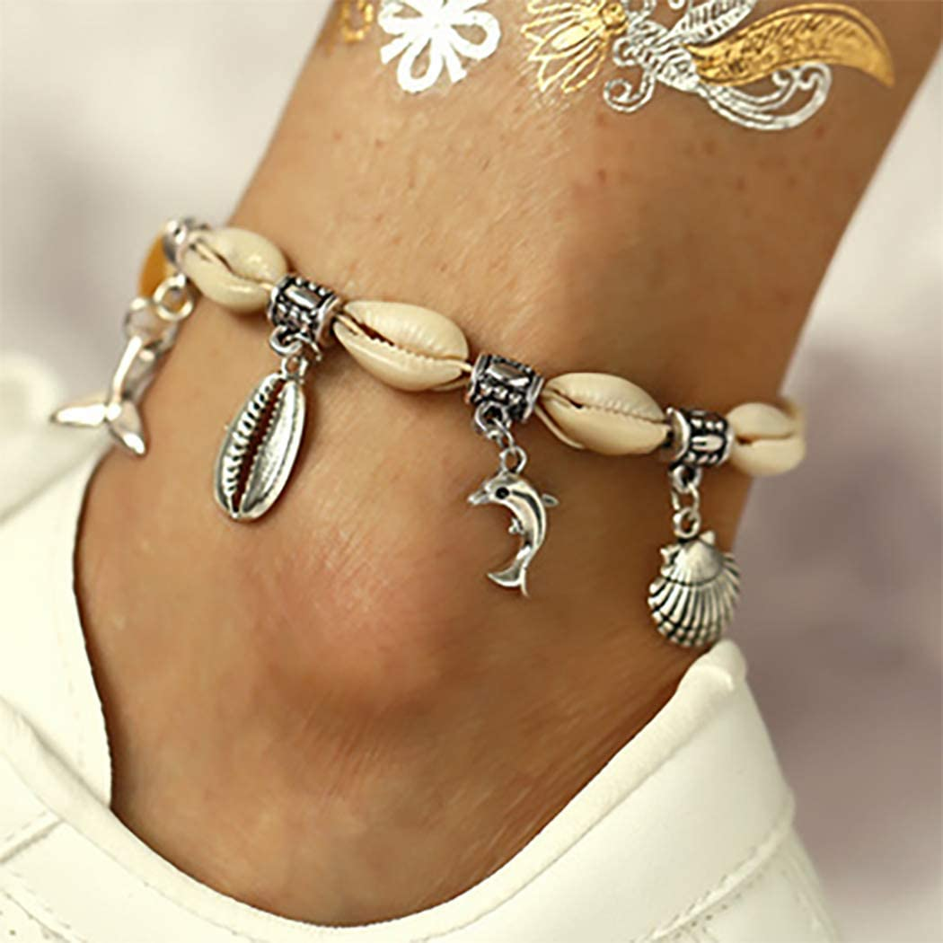 Augety Boho Seashell Anklets Chain Silver Beach Pendent Ankle Bracelets Foot Jewelry for Women and Girls