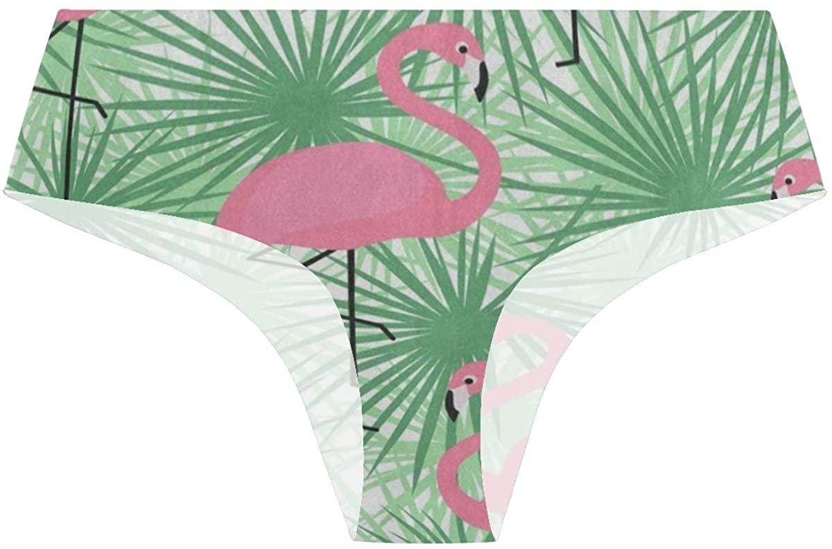 Tropical Green Leaf Flamingo Bird Womens Underwear Seamless Cheeky Panties No Show Panty Lines