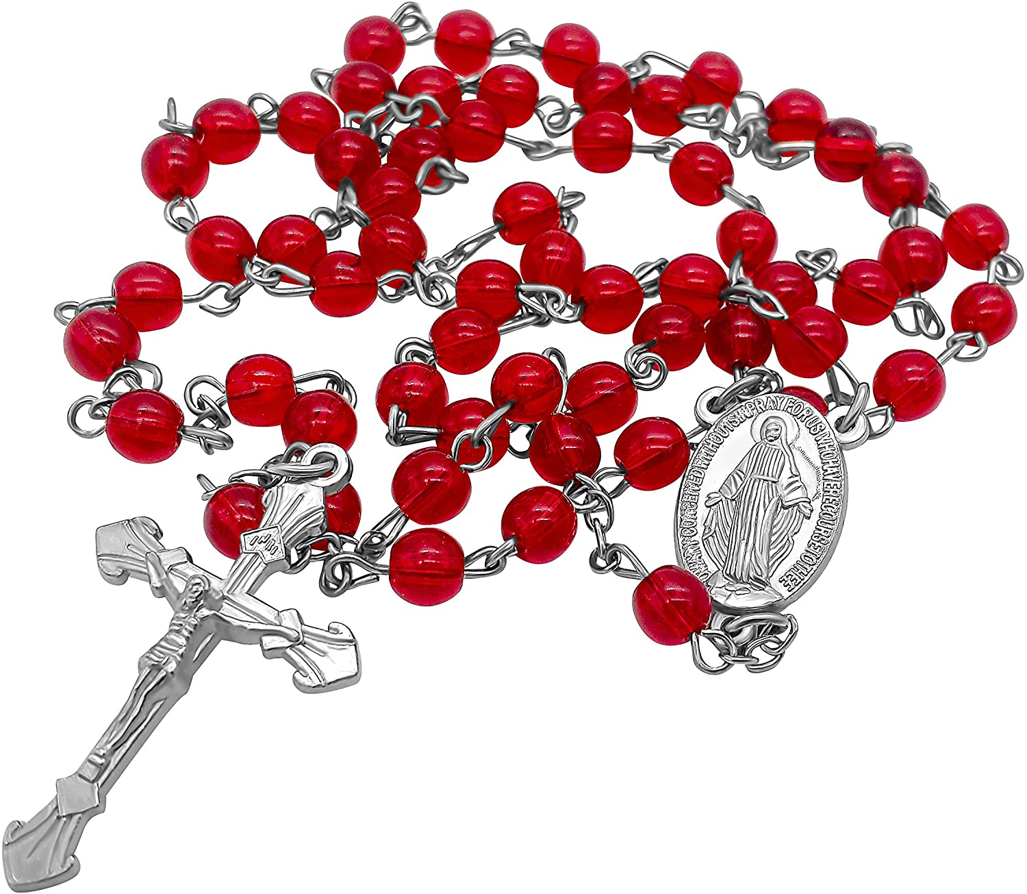 Nazareth Store Red Glass Beads Rosary Catholic Necklace Prayer Miraculous Medal Cross Holy Land Religious Gifts for Women and Men