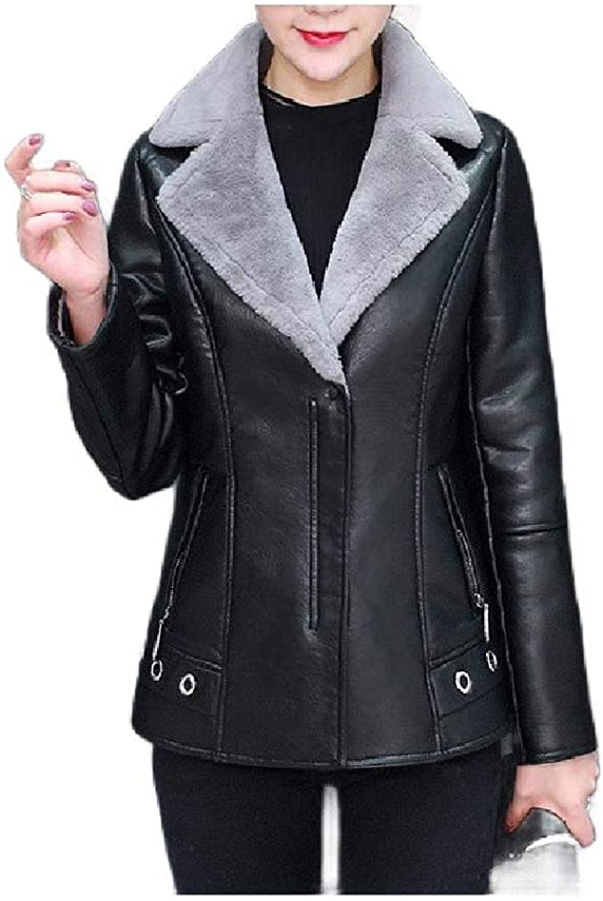 DressU Women's Faux Leather Outwear Fleece Slim PU Lapel Jacket Coat