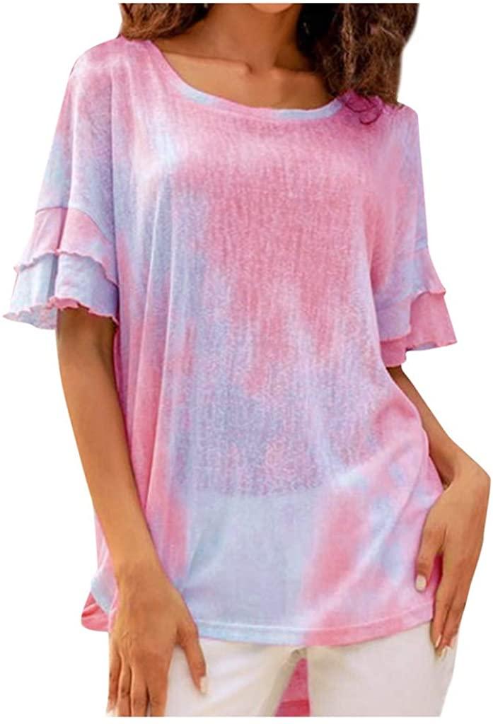 LINKIOM Women's Summer Tie-Dye Ruffle Short Sleeve High Low Casual Loose Shirt Blouse