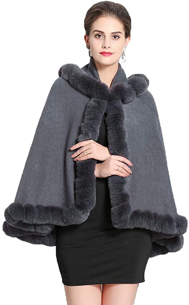 Fenghuavip Hooded Wedding Cloak Short Faux Fur Shawl Wraps Winter Robe