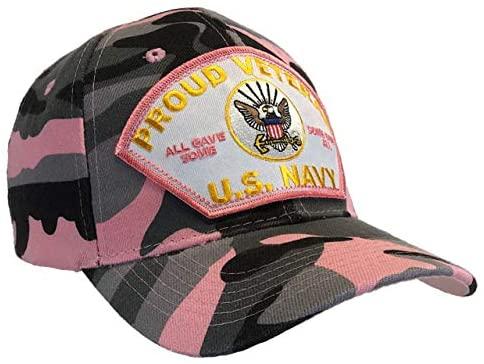 Hawkins Military Women Veteran Hat U.S. Navy Proud Veteran Cap Pink