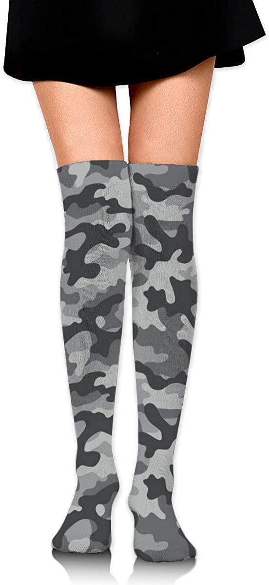 Dress Socks White Black Grey Camouflage Long Knee Hose Hold-Up Stockings