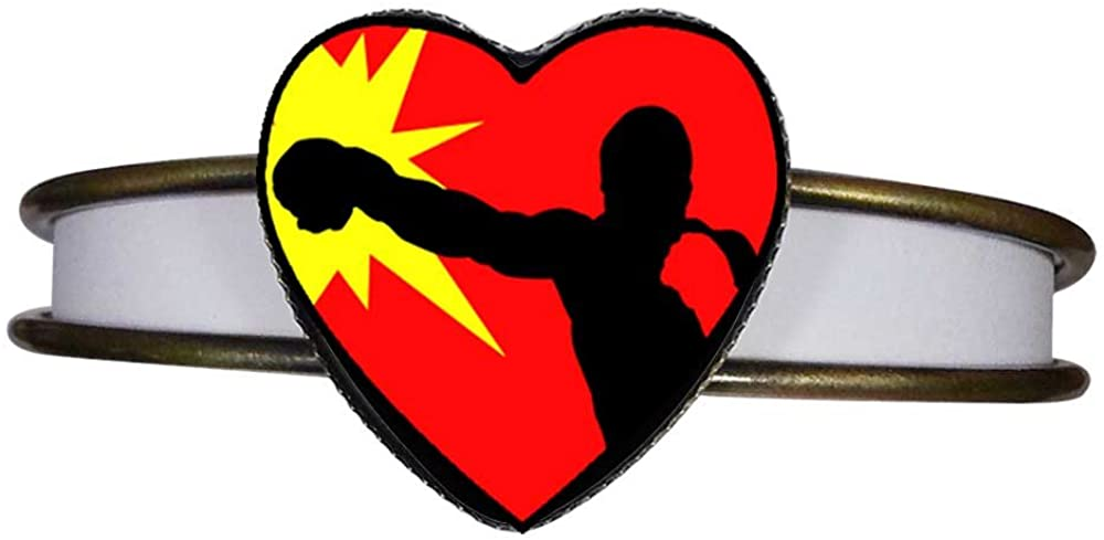 GiftJewelryShop Bronze Retro Style Olympics Male Boxer Heart Cuff Bangle Bracelet Fashion Jewelry