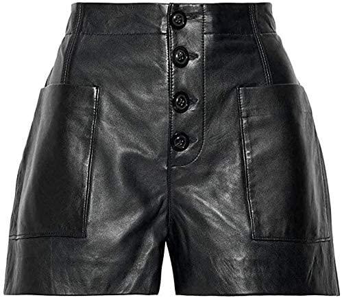 ShopSatiro Casual Elastic Waist Leather Shorts for Women
