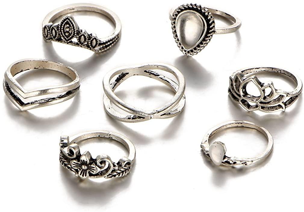 YAZILIND Women Bronze Gemstone Flower Hollow Carving Knuckle Finger Ring Sets Criss Cross Boho Vintage Retro Stackable Ring
