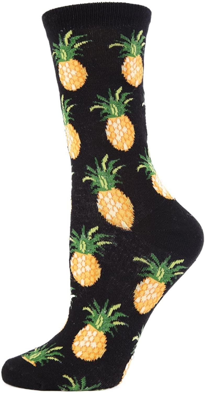MeMoi Pineapple Fruit Bamboo Crew Novelty Socks