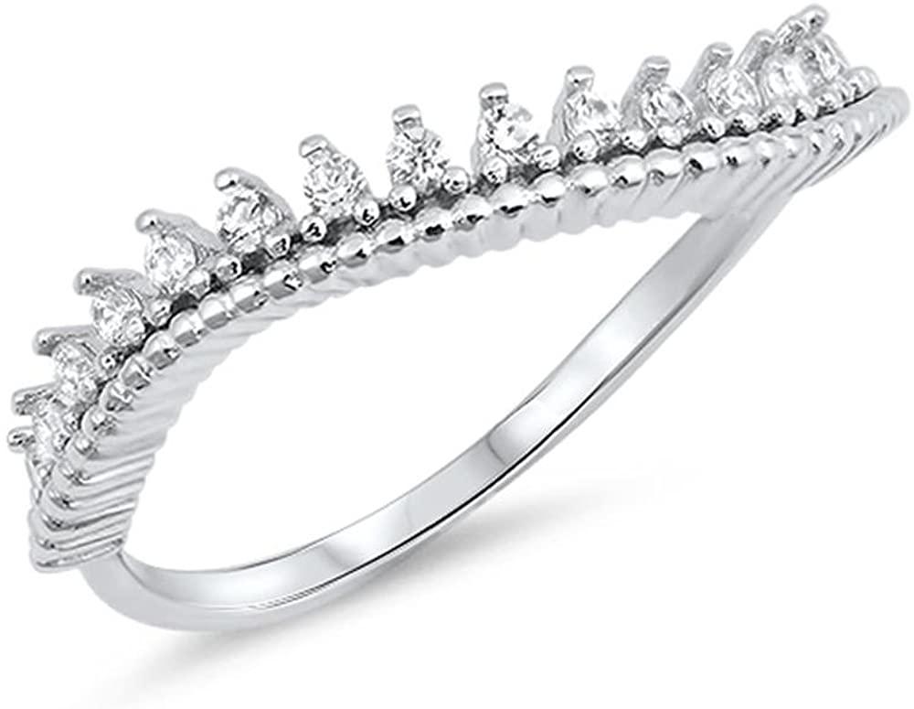 Glitzs Jewels Sterling Silver Cubic Zirconia Curved Wavy Tiara Ring, 10mm