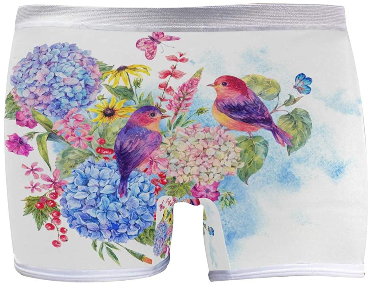 SLHFPX Womens Underwear Boy Shorts Panties Hydrangea Floral Flowers Bird Hummingbird Ladies Comfort Boy Shorts Panty