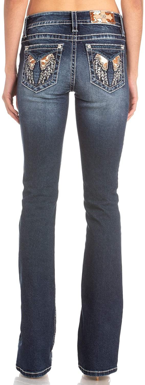 Miss Me Angel Wings Cow Hide Chloe Mid Rise Boot Cut Jeans