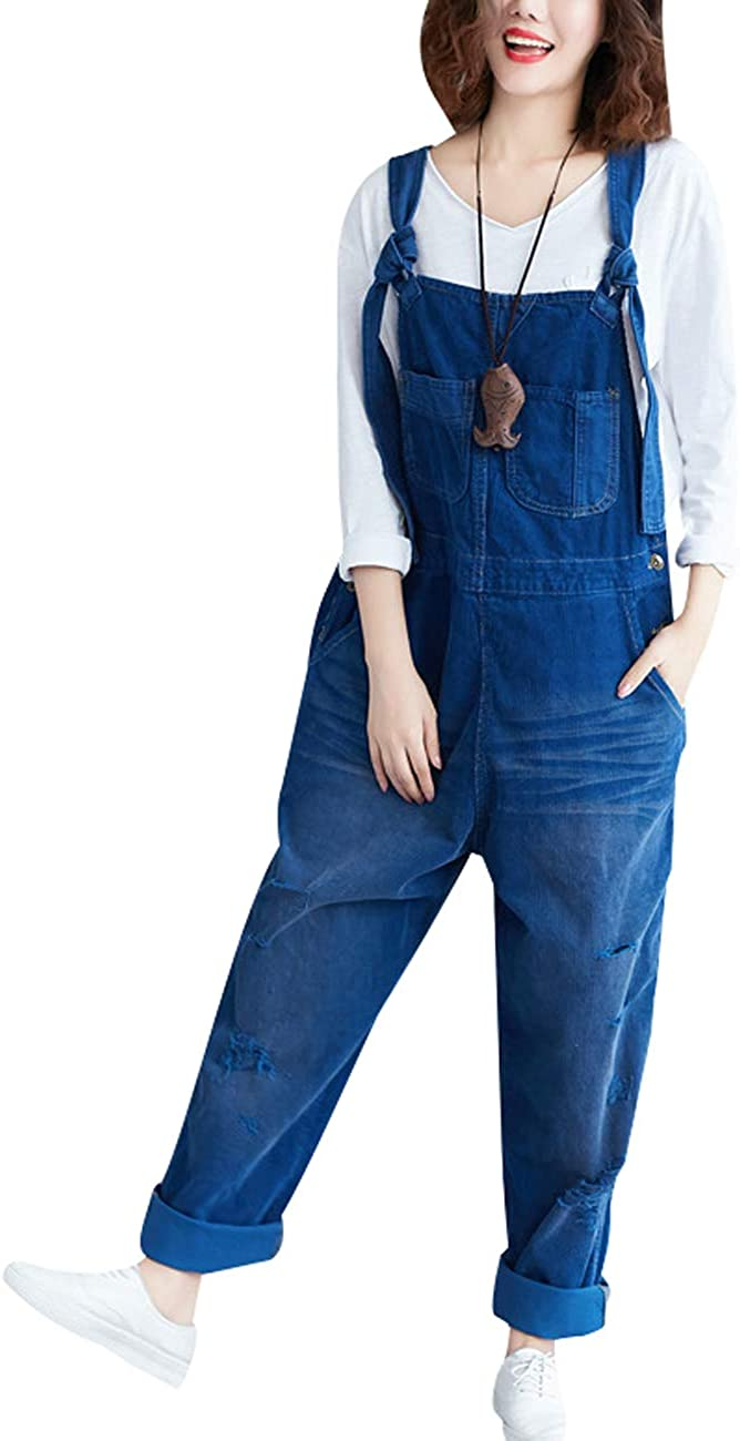 Bigasset Women's Winter Autumn Adjustable Strap Sleeveless Jumpsuits Wide Leg Dungarees Rompers