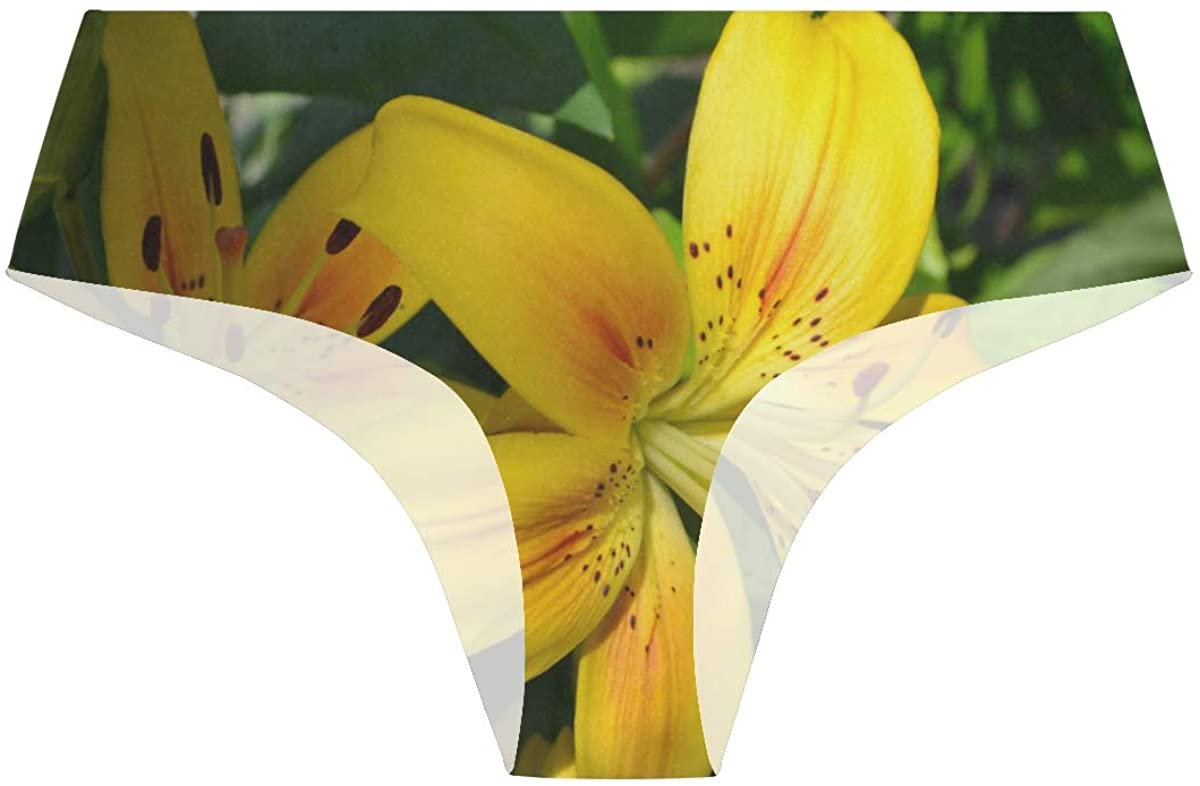 Special Yellow Lily Floral Flowers Womens Stretch Seamless Underwear Laser Cut Bikini Panties