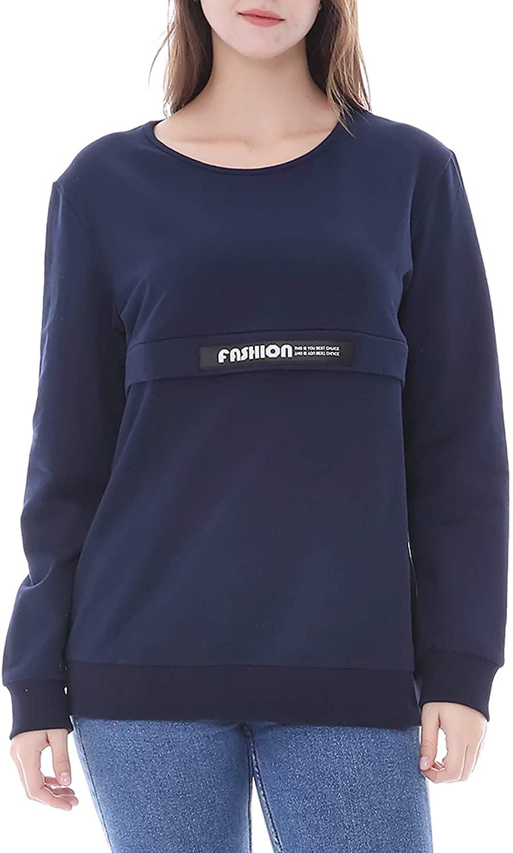 Smallshow Women's Nursing Sweatshirt Long Sleeve Zipper Breastfeeding Tops
