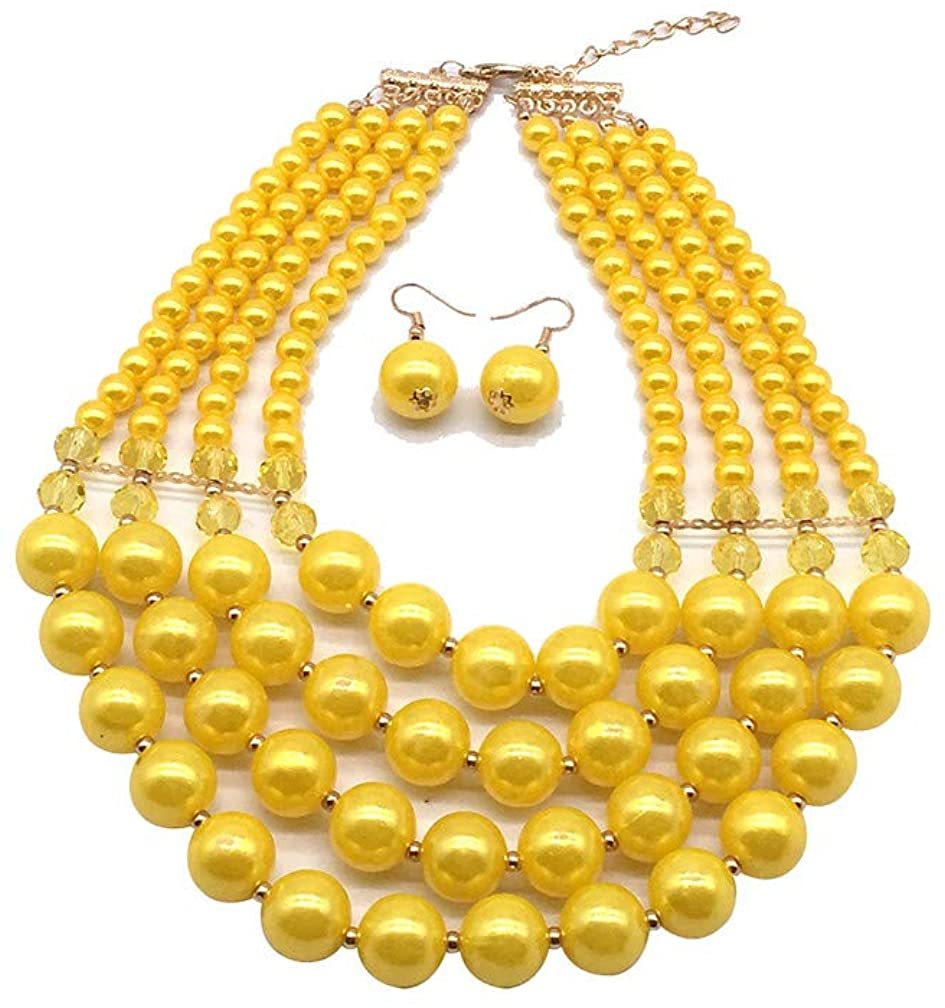 Halawly 5 Colors Statement Beaded Layered Strands Resin Big Simulated Pearls Multi Strand 4 Layer Collar Evening Necklace