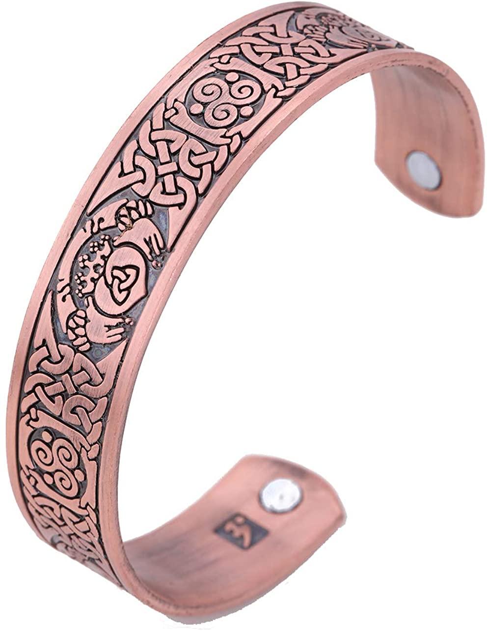 Celtic Knotwork Claddagh Magnetic Cuff Bangle Vintage Bracelet for Love Friendship