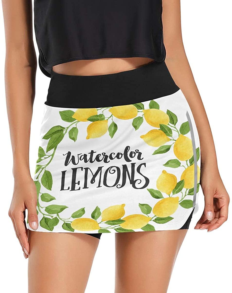 Watercolor Lemons and Green Leaves Women's Tennis Golf Skorts Skirts with Pockets Inner Biker Shorts Summer