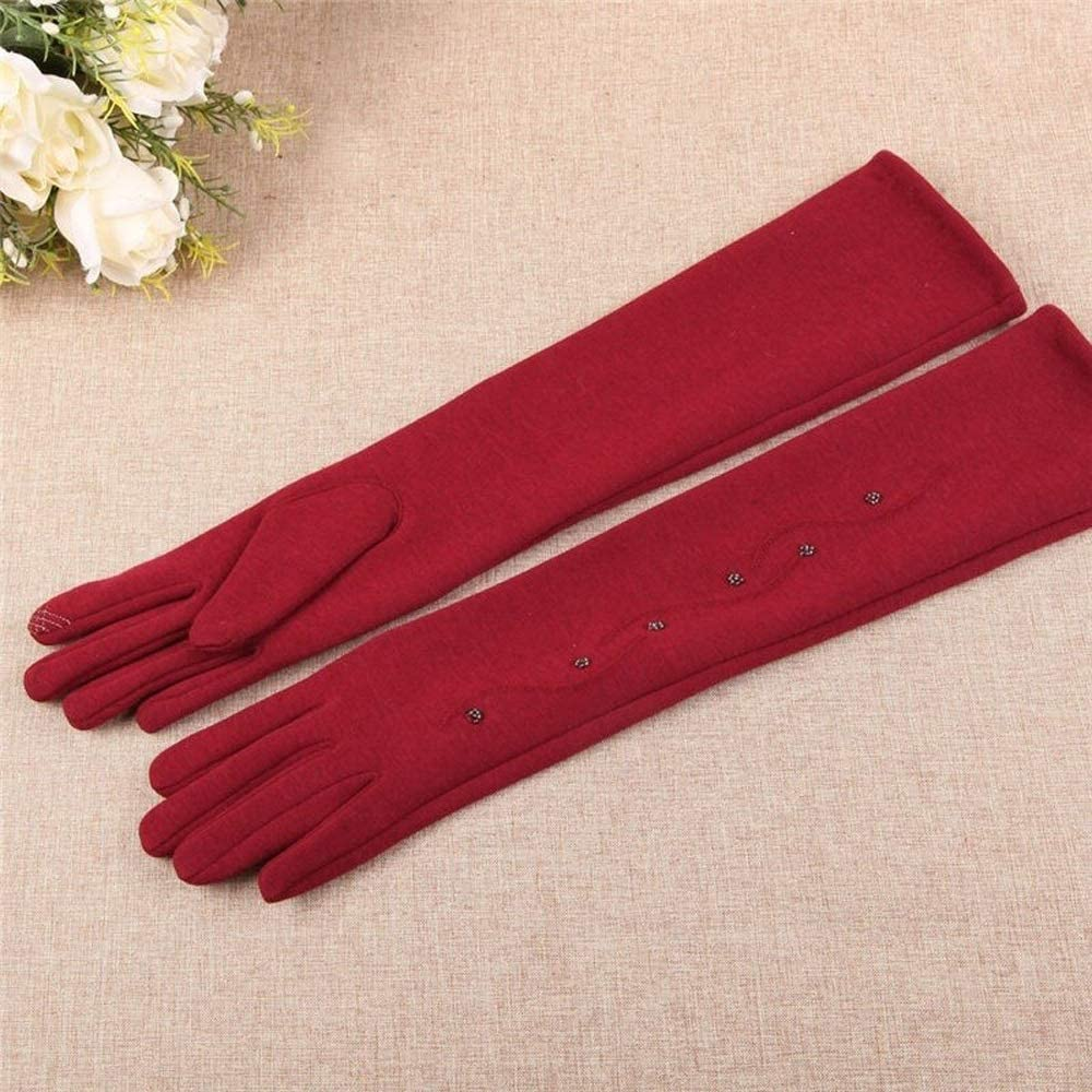 Slowoi Women Velvet Gloves Cuff Female Tenacious Winter Five Fingers Gloves Knitted Thick Strong Arm Sleeve (Color : Red, Gloves Size : One Size)