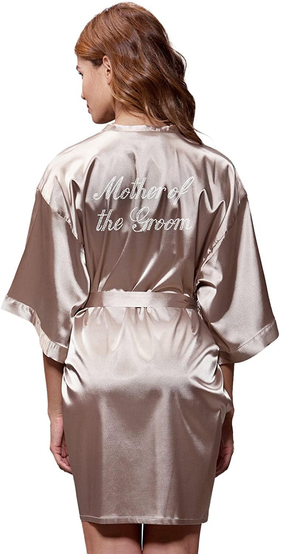 Satin Kimono Rhinestone Mother of The Groom Robe (Small, Taupe)