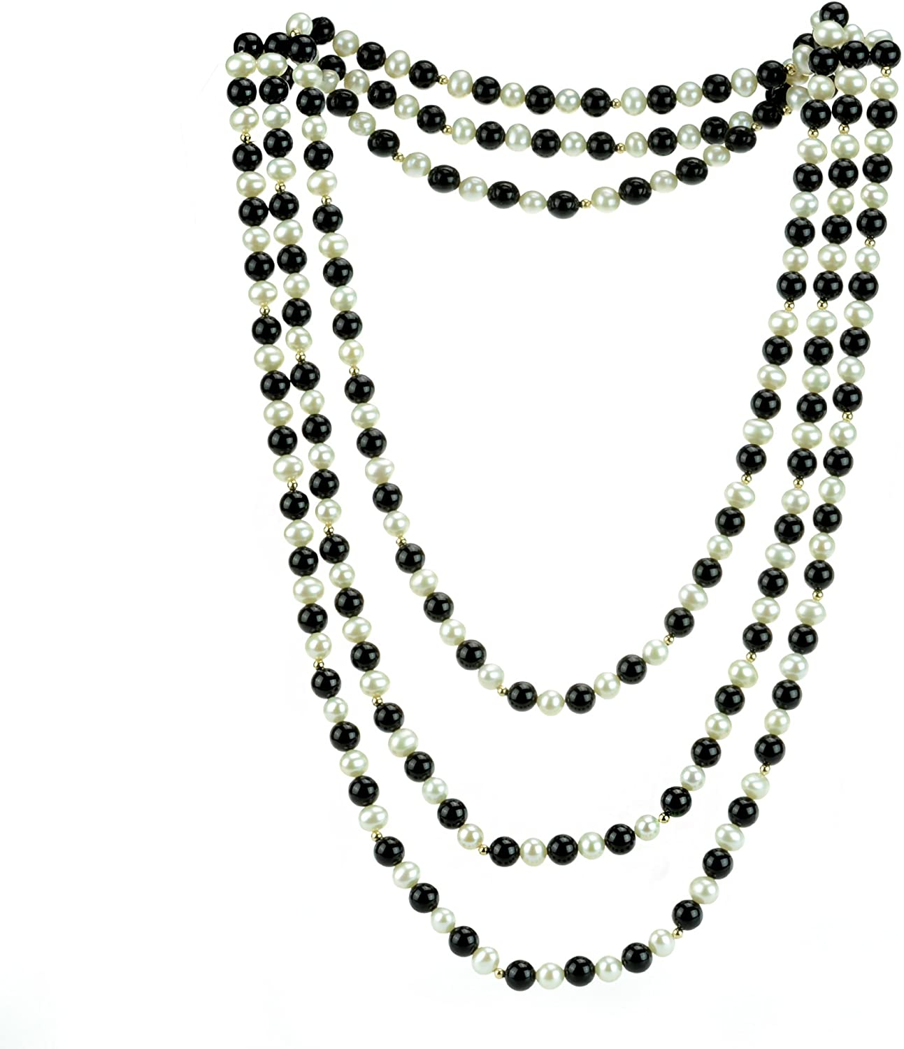 La Regis Jewelry 7-7.5mm White Freshwater Cultured Pearl 8mm Simulated Onyx & 14k Yellow Gold Beads Endless Necklace, 80