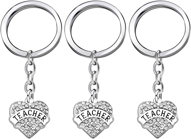 lauhonmin 3PCS Graduation Gifts Teacher Key Chain Set Crystal Heart Appreciation Gift