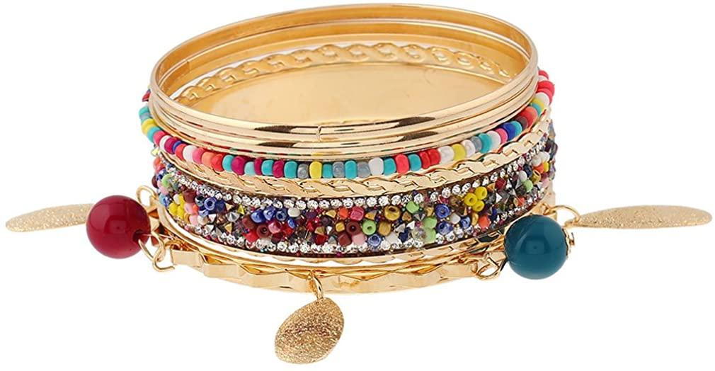 YAZILIND Boho Vintage Ethnic Acrylic Beaded Pendant Multi Cuff Bangle Women Gold Plated Retro Dainty Stackable Bracelet Gift