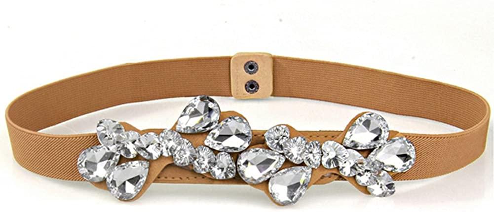 Wild Rhinestone Ladies Belt,Beaded Stretch Of Tightness Belt Decoration Dress Accessories Belt