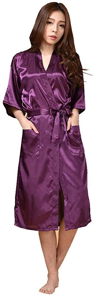 NSQFKALL Woman's Sleepwear Simulation Silk Long Sleeves Home Thin Pajamas Nightgown Bathrobe