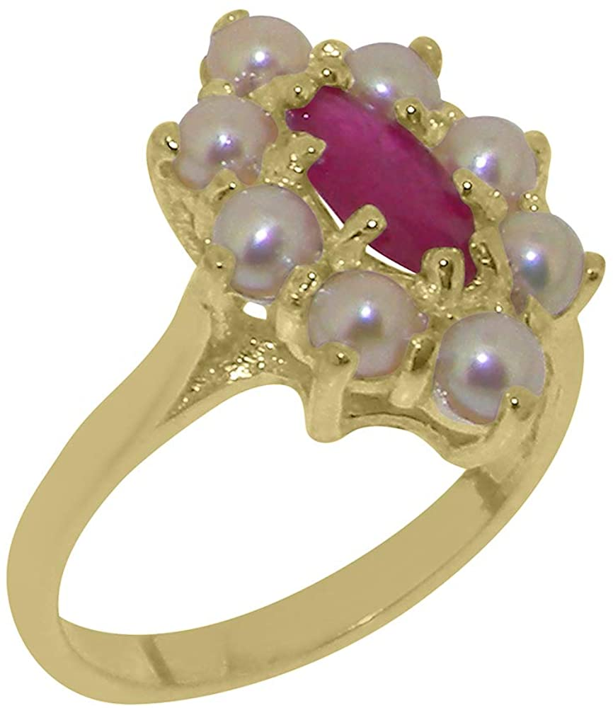 Solid 9k Yellow Gold Natural Ruby & Cultured Pearl Womens Cluster Ring - Sizes 4 to 12 Available