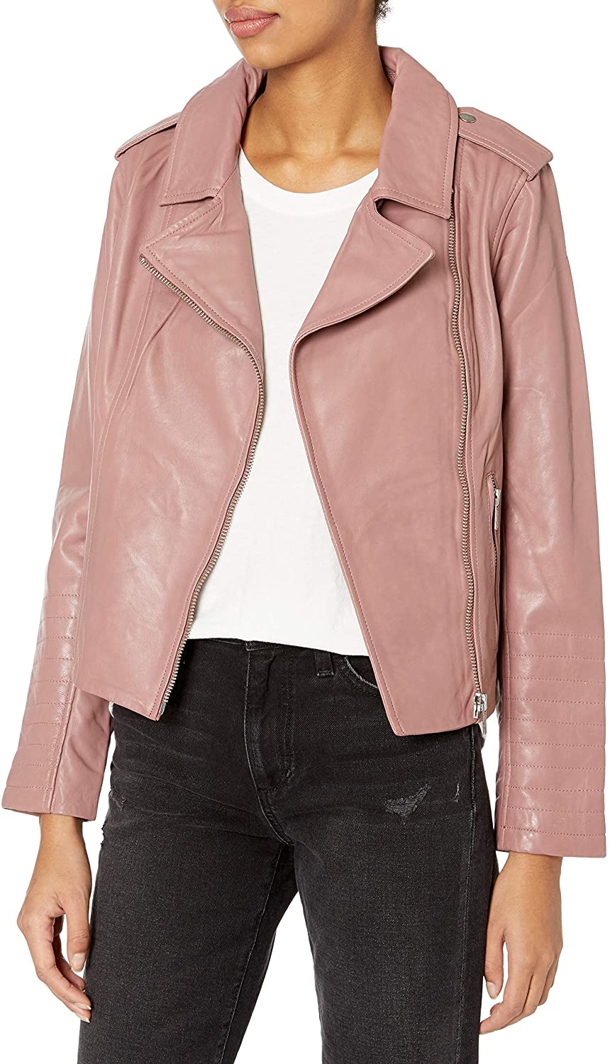 BB Dakota Women's Washed Leather Jacket, Rose Taupe, Small