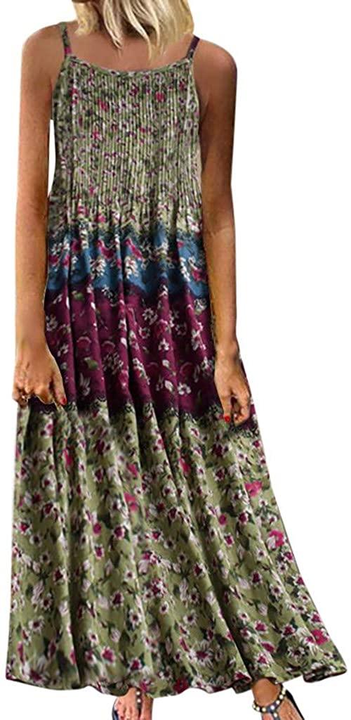 LENXH Ladies' Vintage Dress Sleeveless Print Dress Fashion Beach Dress Casual Dress Elegant Dress