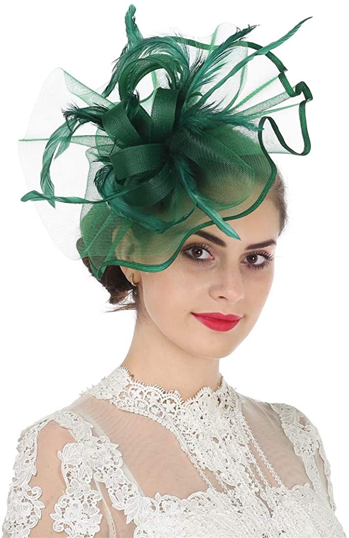 Lucky Leaf Girl Lady Hat Headwear Organza Church Feather Clip Fascinators Hat Wedding Party Kentucky Derby Cap for Women