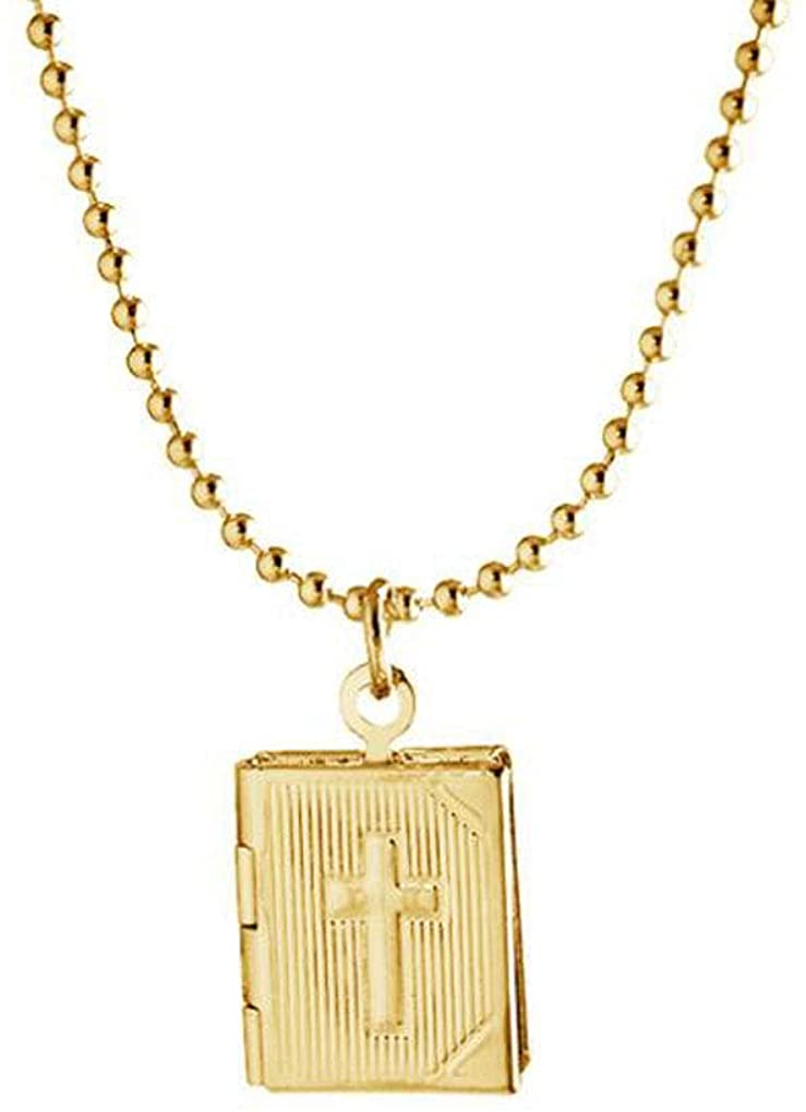 Gostear Creative Floating Locket Necklace That Holds 2 Pictures for Women Bible Book Cross Pendant