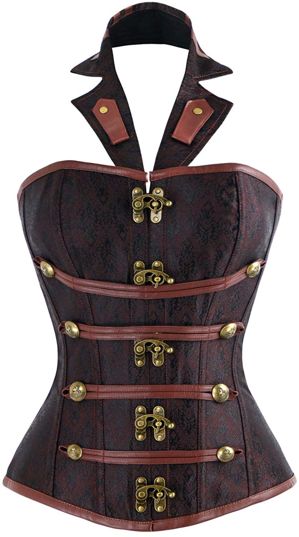 Sexy4Lady Women's Steampunk Vintage Halter Brocade Boned Corset with Buckles