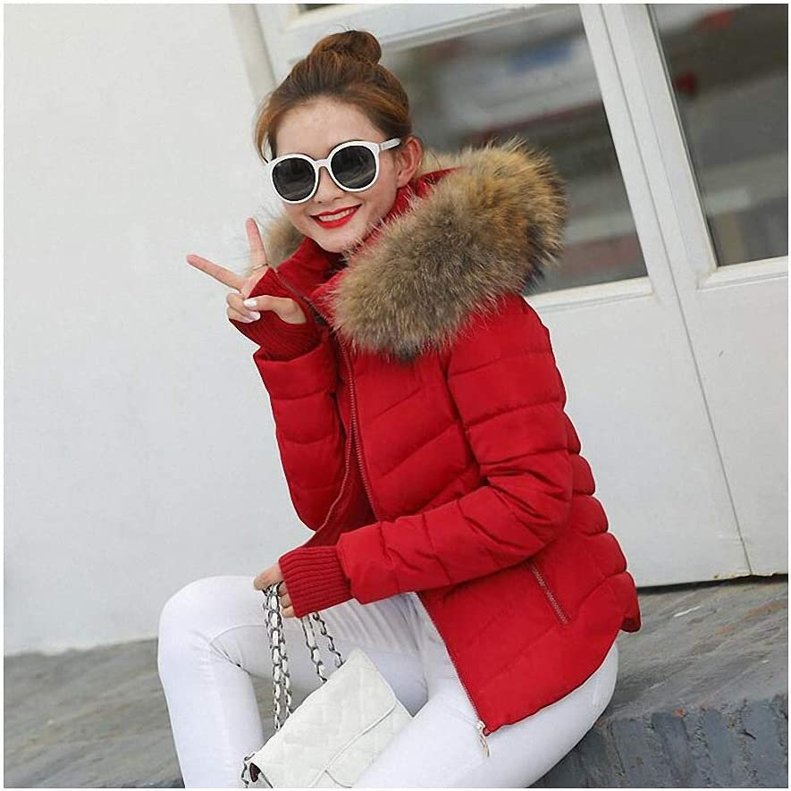Man-Made Raccoon Fur Collar Parka Down Cotton Jacket Winter Jacket Women Thick Snow Wear Coat Lady Clothing Female Jackets Parkas Red L