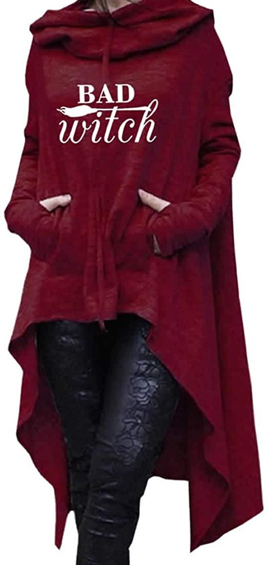 Dropeon Womens Bad Witch Halloween Pullover Long Hoodie Irregular Hem Loose Tunic Sweatshirts