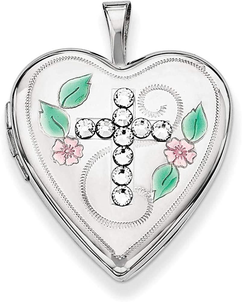 925 Sterling Silver Enameled Crystals Religious Faith Cross Love Heart Photo Locket Pendant Necklace Jewelry Gifts for Women