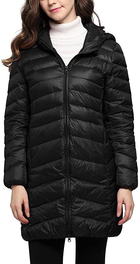 Lukitty Women's Hooded Down Coat Lightweight Mid-Length Long Puffer Jacket Coat