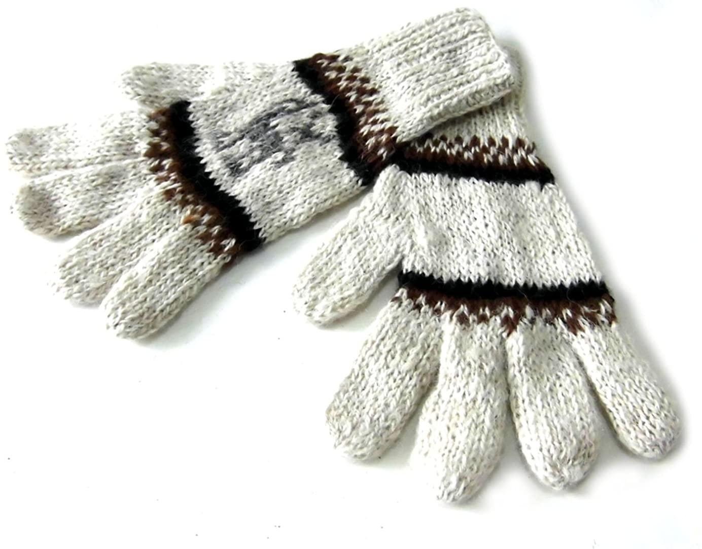 Alpakaandmore Womens Hand-knitted Gloves Alpaca Wool White