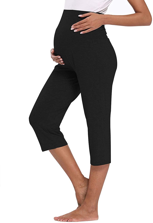 AMPOSH Women's Maternity Capri Pants Stretchy Lounge Pants Comfortable Pregnancy Shorts
