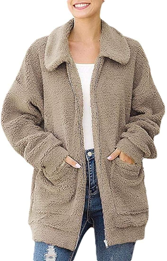 Xudcufyhu Fashion Womens Coat Casual Lapel Fleece Fuzzy Faux Shearling Zipper Warm Winter Oversized Outwear Jackets