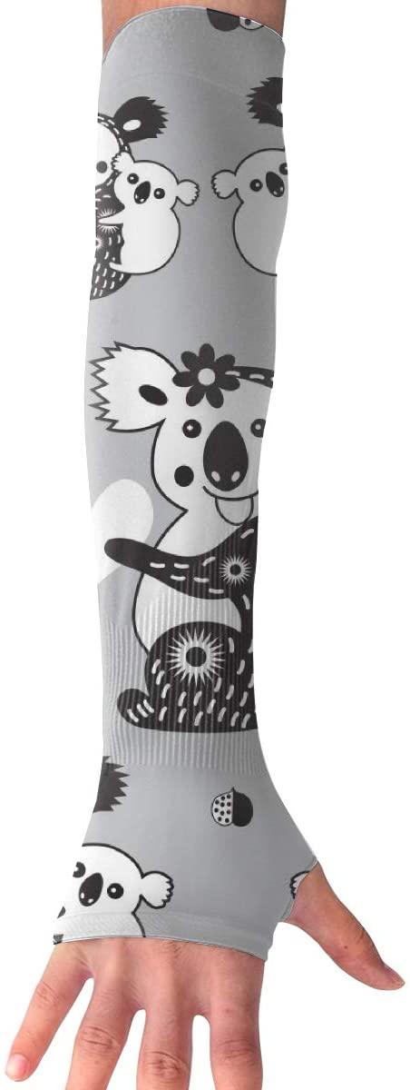 MASDUIH Funny Koalas Gloves Anti-uv Sun Protection Long Fingerless Arm Cooling Sleeve
