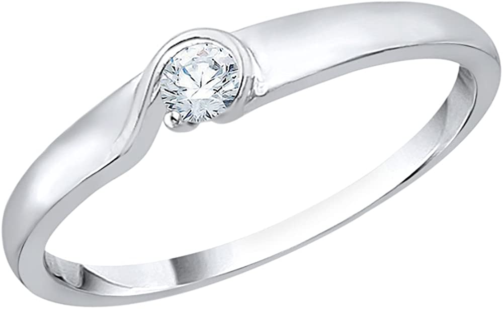 KATARINA Diamond Accent Promise Ring in 10K White Gold (I-J, I1) (Size-5)