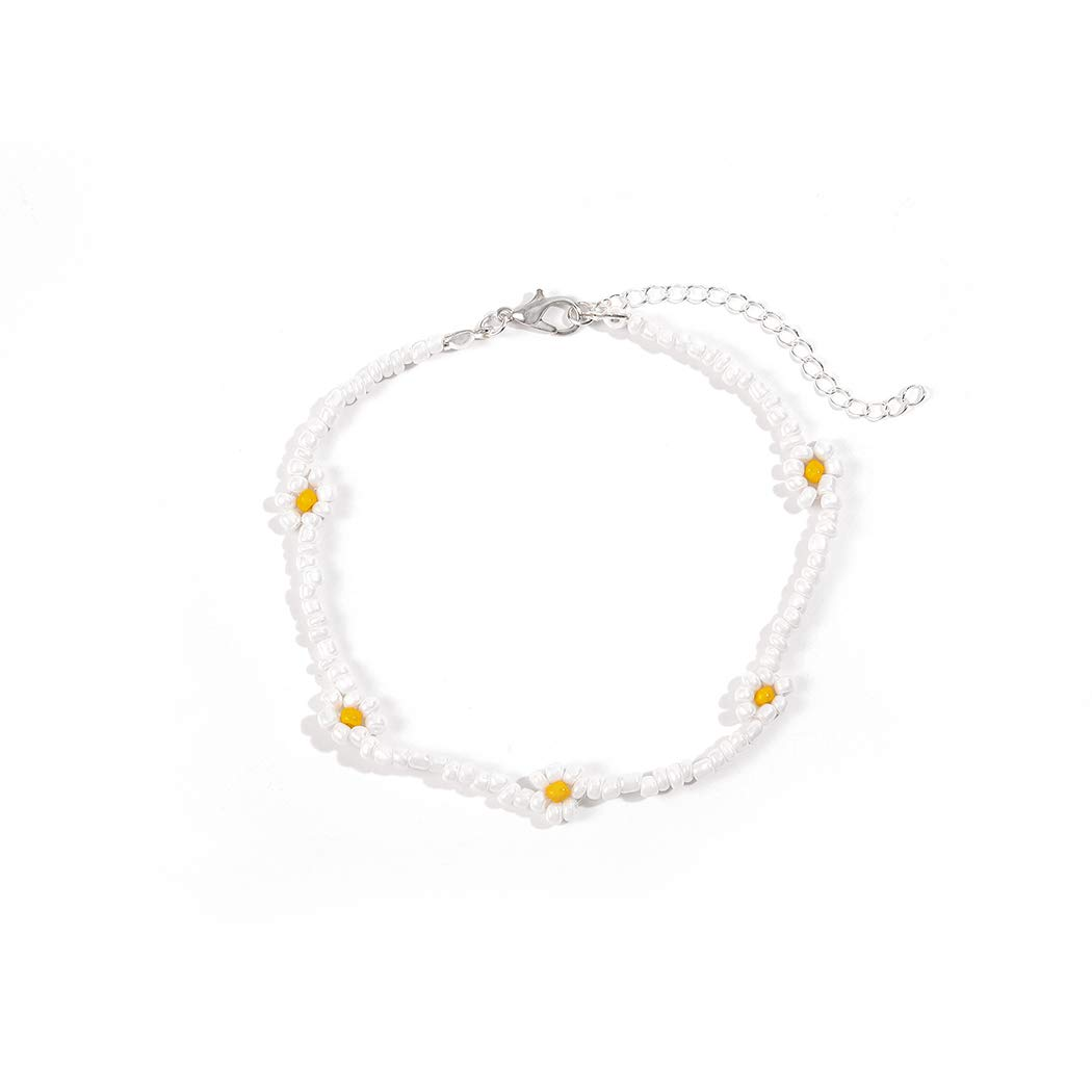 Mosako Boho Ankle Chain Beaded Anklets Bracelets Flower Foot Jewelry for Women and Girls (White)