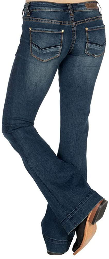 Rock & Roll Cowgirl Women's Trouser Extra Stretch Jeans, 29W x 38L, Dark Vintage Wash