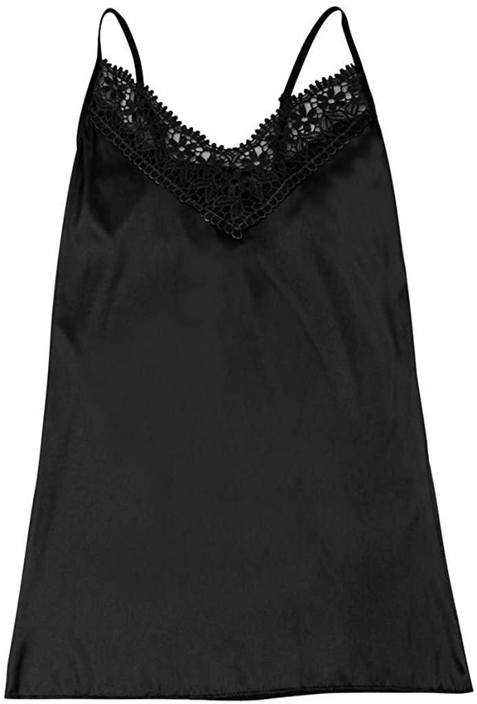MTENG Women Lingerie Sexy V Neck Nightwear Satin Lace Chemise Mini Comfortable Teddy Sleepwear